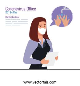 Businesswoman with mask and hands sanitizer vector design