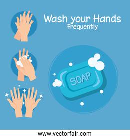 Soap bar and hands washing steps vector design