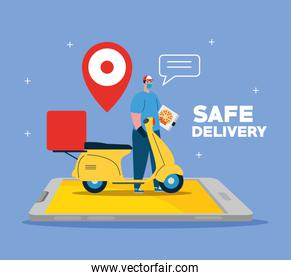 Delivery man with mask motorcycle gps mark and pizza box on smartphone vector design