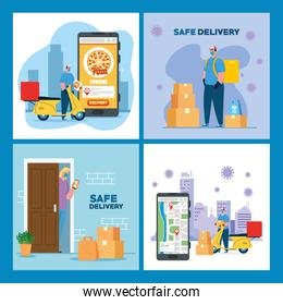 Delivery men with masks motorcycles woman client and smartphone vector design