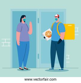 Delivery man and woman client with mask and pizza box vector design