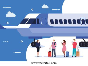 Airplane stewardess and people with medical masks and bags vector design