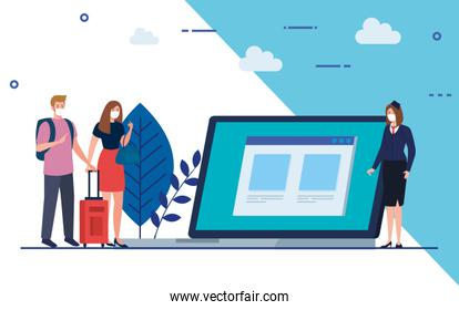 Stewardess and people with medical masks laptop and bags vector design