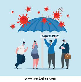 businesspeople with masks and umbrella of bankruptcy vector design