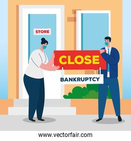 businesspeople with masks on store of bankruptcy vector design
