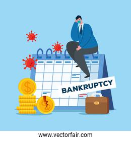 businessman with mask and calendar of bankruptcy vector design