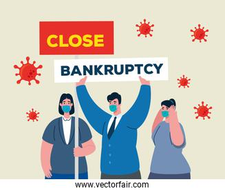 businesspeople with masks and close bankruptcy vector design