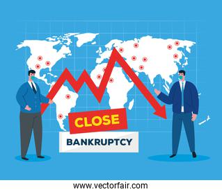 businessmen with masks and map of bankruptcy vector design