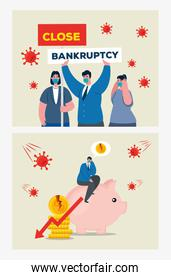 businesspeople with masks piggy and decrease arrow of bankruptcy vector design