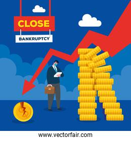 businessman with mask and decrease arrow of bankruptcy vector design