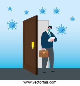 businessman with mask outside door of bankruptcy vector design