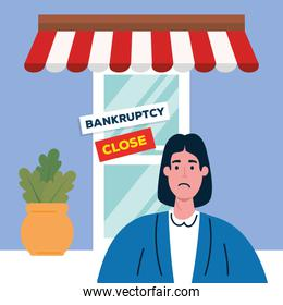 sad woman on store of bankruptcy vector design