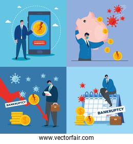 businessmen with masks and money icon set of bankruptcy vector design