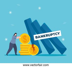 Woman with broken coins of bankruptcy vector design