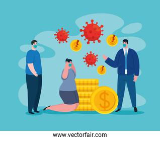 businesspeople with masks and broken coins of bankruptcy vector design
