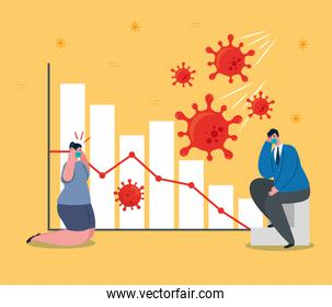 businesspeople with masks and bars chart of bankruptcy vector design