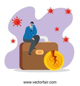 businessman with mask broken coin and suitcase of bankruptcy vector design
