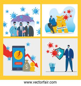 businesspeople with masks and icon set of bankruptcy vector design