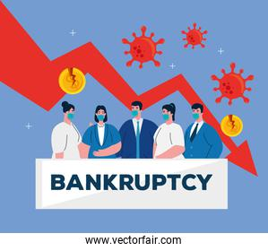 businesspeople with masks and decrease arrow of bankruptcy vector design