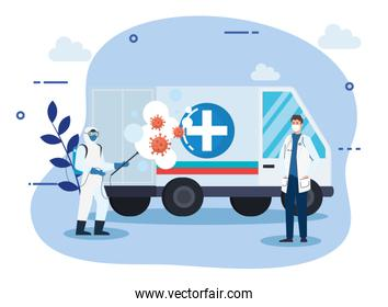 Man with protective suit spraying ambulance with covid 19 vector design