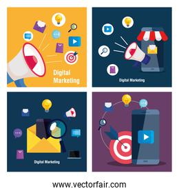 smartphones and megaphone with icon set of digital marketing vector design