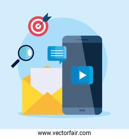 Smartphone and envelope with icon set of digital marketing vector design