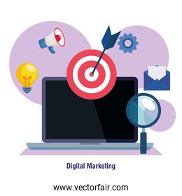 laptop with target lupe and icon set of digital marketing vector design