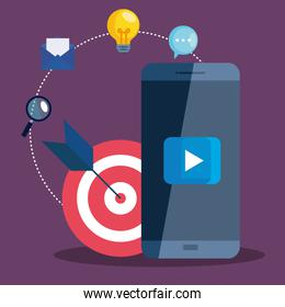 Smartphone and target with icon set of digital marketing vector design