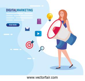 woman with megaphone and icon set of digital marketing vector design