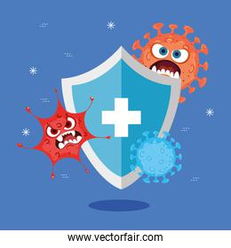 Shield with cross covid 19 virus cartoons vector design