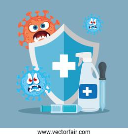 Shield hands sanitizer and covid 19 virus cartoons vector design