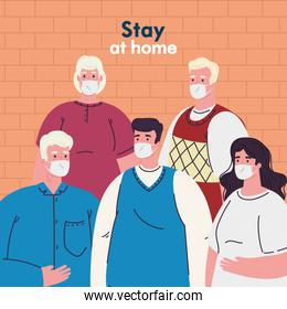 people with medical masks and stay at home text vector design