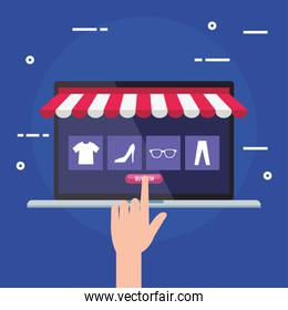 laptop with tent and hand touching buy button vector design