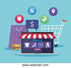 laptop with tent bag cart and icon set vector design