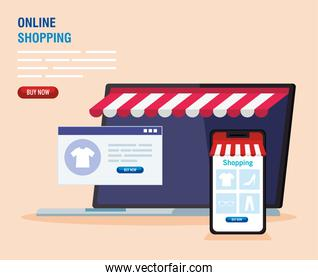 Smartphone and laptop with tent vector design