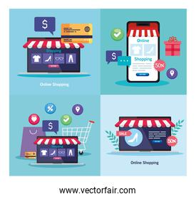 laptops and smartphone with tent and credit card vector design