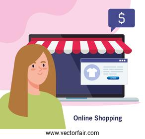 woman avatar and laptop with tent vector design