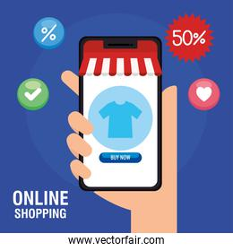 hand holding smartphone with tshirt and buy button vector design