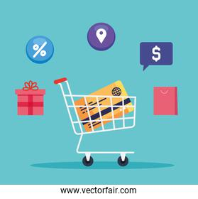 credit card inside shopping cart and icon set vector design