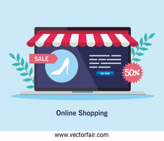 laptop with heel and sale label vector design