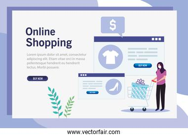 woman avatar with gift inside cart and website vector design