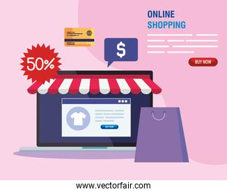 laptop with tent bag website and icon set vector design