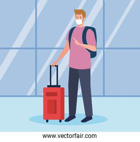man tourist wearing medical mask with luggage, travel during coronavirus, prevention covid 19