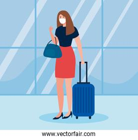 business woman tourist wearing medical mask with luggage, travel during coronavirus, prevention covid 19