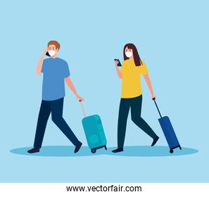couple tourist wearing medical mask with luggage, travel during coronavirus, prevention covid 19