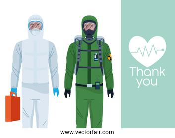 tank you doctors with biosafety suit