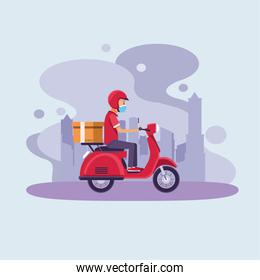 delivery service worker wearing medical mask in motorcycle