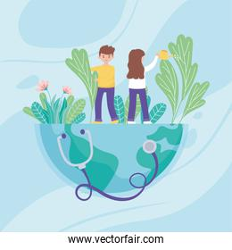 boy and girl with watering can pouring water on the world, medical stethoscope, save the planet protection against covid 19 coronavirus, nature and ecology concept