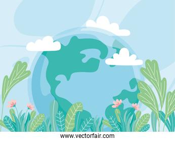 ecology world with flowers leaves save planet protect nature and ecology environmental