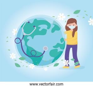 girl with medical mask and healthy world stethoscope, save the planet protection against coronavirus covid 19, protect nature and ecology concept